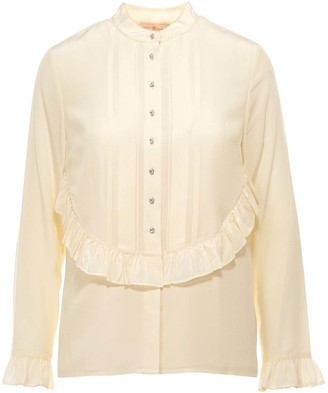 Tory Burch Pleated Ruffle Detail Blouse