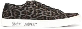 Saint Laurent Leopard Print Canvas Sneakers