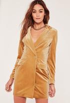 Missguided Gold Velvet Blazer Dress