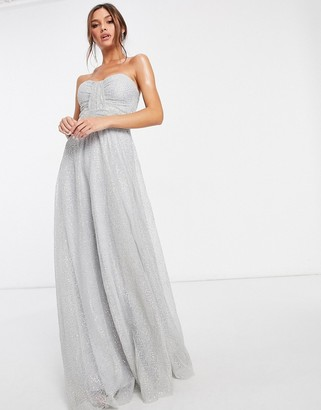 Goddiva bandeau embellished mesh maxi dress in grey