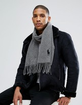 Polo Ralph Lauren Large Pony Scarf Wool In Grey Marl/charcoal