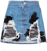 Almaz denim and lace mini skirt