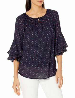 Chaps Women's Layered Bell Sleeve Relaxed Silk Georgette Top