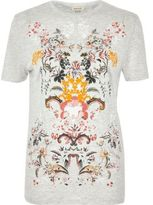 River Island Womens Grey floral puff print T-shirt