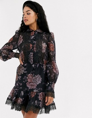 Keepsake button through mini dress in dark florals-Blue