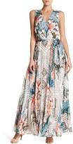 Sangria Surplice Neck Floral Maxi Dress