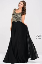 Jovani Cap Sleeve Chiffon Empire Waist Dress JVN47895