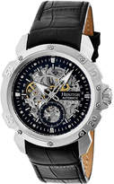 Heritor Automatic Men's Watches Silver/Black - Silvertone & Black Conrad Leather-Band Skeleton Watch