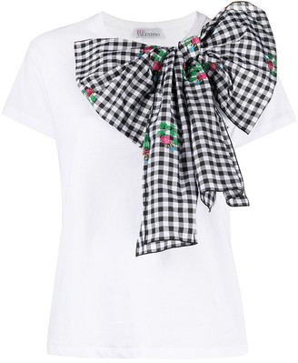 RED Valentino vichy taffeta bow-embellished T-shirt