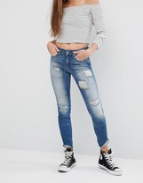 Noisy May Lucy Rip Patch Skinny Jeans L30