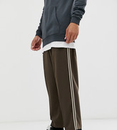Asos Design DESIGN Tall drop crotch tapered crop smart pants in brown