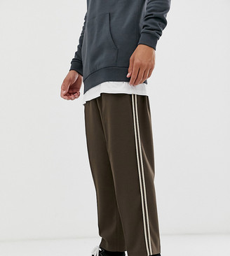 ASOS DESIGN Tall drop crotch tapered crop smart pants in brown