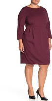Lafayette 148 New York Solid 3/4 Dolman Sleeve Sheath Dress (Plus Size)