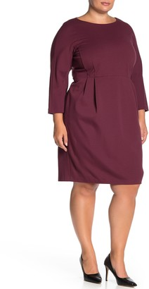 Lafayette 148 New York Solid 3/4 Dolman Sleeve Sheath Dress (Plus Size)