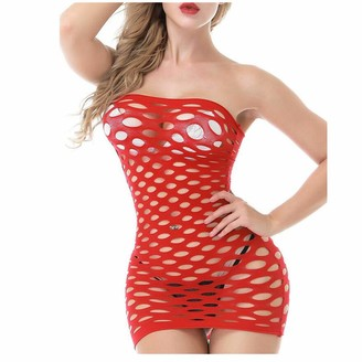 So Buts SO-buts Women Hollow Out One Piece Sexy Lingerie Bodysuit Babydoll Lingerie Nightwear Mini Dress (Red Free Size)