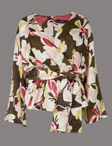 Autograph Floral Print V-Neck Long Sleeve Blouse