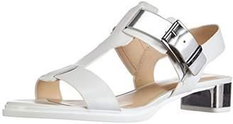 Calvin Klein Calving Klein Women's Cady Vacchetta+Mirror Leather Fashion Sandals Multi-Coloured Mehrfarbig (White/Silver) 3.5