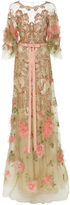 Marchesa Floral Feather Beaded Gown