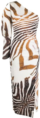 Le Petite Robe Di Chiara Boni Animal Print One Shoulder Dress