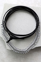 LuLu*s Sweet Situation Black and Silver Wrap Necklace