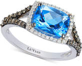 LeVian Le Vian Chocolatier® Blue Topaz (2 ct. t.w.) and Diamond (3/8 ct. t.w.) Ring in 14k White Gold