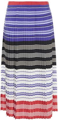 Altuzarra Pleated Striped Crepe De Chine Midi Skirt