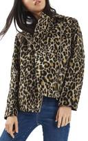 Topshop Women's Leopard Print Biker Jacket