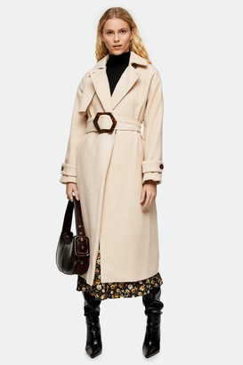 Topshop Womens Cream Twill Belted Coat - Cream