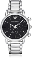 Emporio Armani Silvertone Stainless Steel Men's Watch w/Black Dial
