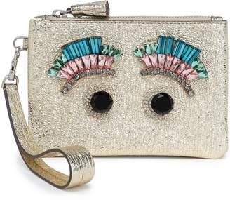 Anya Hindmarch Crystal-embellished Metallic Cracked-leather Pouch