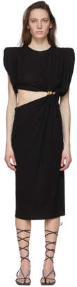 Versace Black Sculptural Shoulder Cut-Out Dress