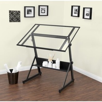 Studio Designs Solano Height Adjustable Drafting Table Color: Charcoal/Clear Glass