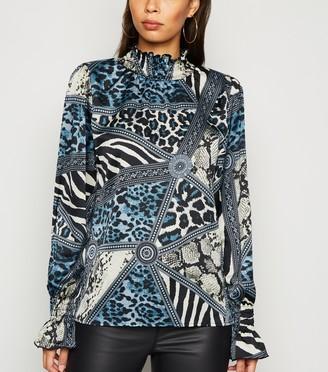 New Look AX Paris Satin Mixed Print High Neck Top