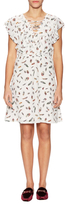 The Kooples Silk Feather Printed Flare Dress