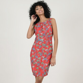 Molly Bracken Sleeveless Knee-Length Shift Dress in Tropical Print