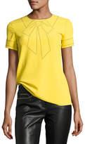 Moschino Short-Sleeve Studded Bow Illusion Silk Blouse