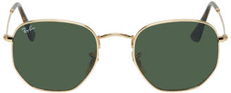 Ray-Ban Gold and Green Hexagonal Sunglasses