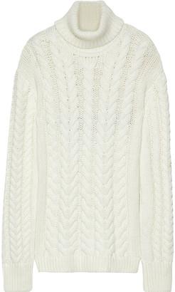 Tibi Cutout Cable-knit Wool-blend Turtleneck Sweater