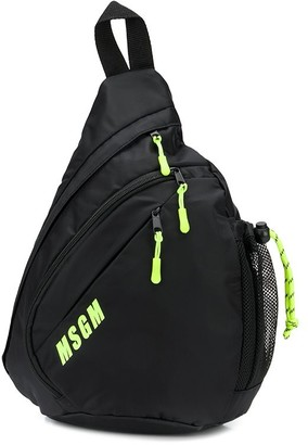 MSGM neon-trimmed triangle backpack