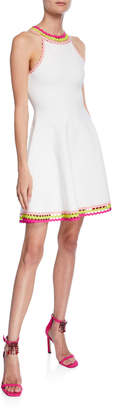 Milly Diamond-Cut Halter-Neck Fit-and-Flare Mini Dress
