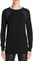 Aqua Lace-Up Raglan Tunic Sweater
