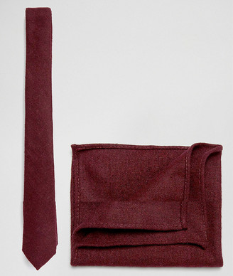 ASOS DESIGN tie and pocket square pack in textured burgundy