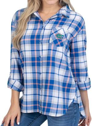 Women's Royal Florida Gators Team Missy Boyfriend Plaid Flannel Button-Up Long Sleeve Shirt