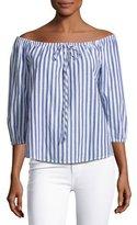 Velvet Jene Off-the-Shoulder Striped Blouse, Blue