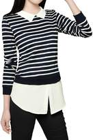 Allegra K Woman Striped Point Collar Long Sleeves Layered Shirt XS