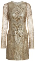 Burnett New York Embroidered Sheer-Sleeve Silk Cocktail Dress
