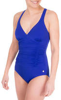 Roots One-Piece Cross Back Shirred Swimsuit
