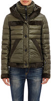 Moncler Women's Fur-Trimmed Down Jacket-TURQUOISE
