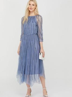 Monsoon Lenamist Sustainable Hanky Hem Dress - Blue