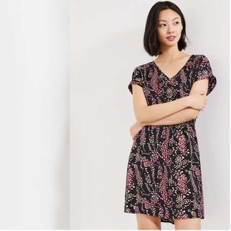 Joe Fresh Women's Print Smocked Waist Dress, Black (Size M)